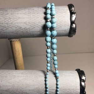 Turquoise Beaded and Silver Long Necklace